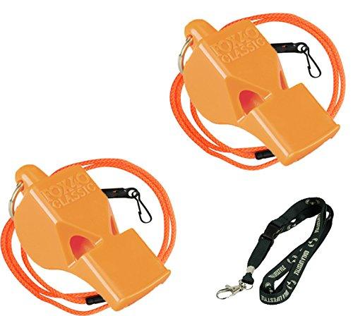 Fox 40 Classic Loud Pealess Referee, Sports Coach, & Lifeguard Whistle + Breakaway Lanyards | 2pk Bundle + Koala Lanyard, Orange