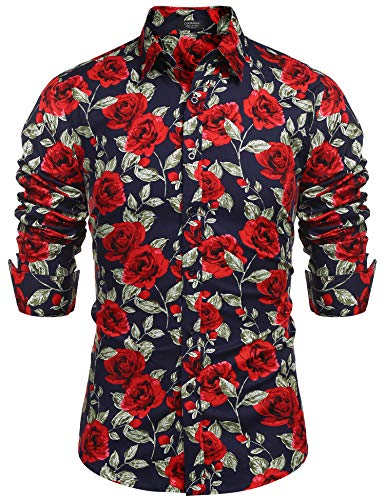 COOFANDY Men's Floral Print Shirt Cotton Rose Graphic Printed Long Sleeve Shirt