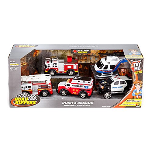 [Toy State Road Rippers Rush & Rescue Emergency 5 Vehicle Set - Ambulance, Fire Trucks, Police SUV, and Helicopter] (Police Ambulance)