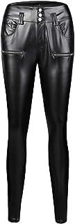 WUDUBE 2019 - Leggings de Piel sintética para Mujer, con Bolsillo, Ajustados, Cintura Alta, Pantalones de Yoga, Cintura Alta, para Entrenamiento, Correr