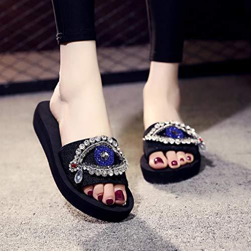 Fait A Été Printemps Yeux Cristal Femmes Femme Épais Chaussons Sandales Sonnena Dames Plates Chaussures Fond Plage De Avec sandales Main Noir Filles Compensées Bwqcc6C7
