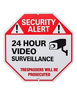 No Trespassing 24 Hour Video Surveillance Warning Reflective Sign. Solid 100% Rust Free Aluminum. 40mm Thick Commercial Grade. Our Sign 5x Stronger UV Printing 10 Years Anti Scratch from Otrekia