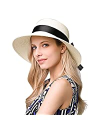 EINSKEY Straw Hats for Women Summer Wide Brim Sun Hat Foldable Beach Hat