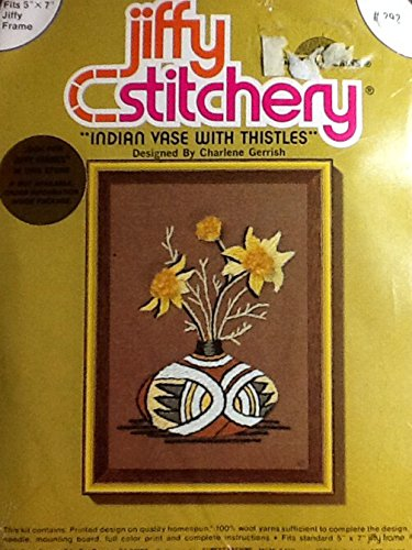 Indian Vase with Thistles ~ 1976 Vintage Jiffy Stitchery Needlepoint Embroidery Kit