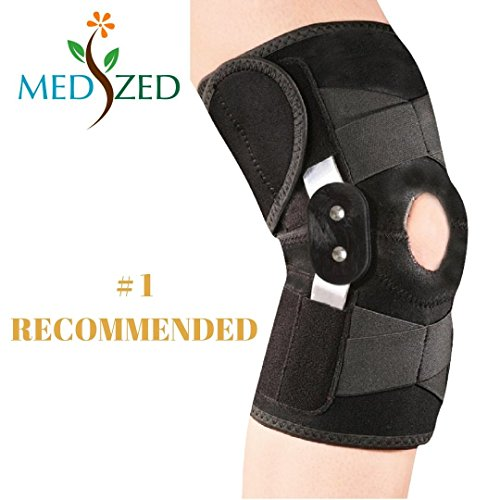 MEDIZED Adjustable Double Metal and Hinged Knee Brace Support Protection Arthritis Sports Injury Open Patella Gym Basketball Running Jogging football Cycling Compression Wrap (Regular)