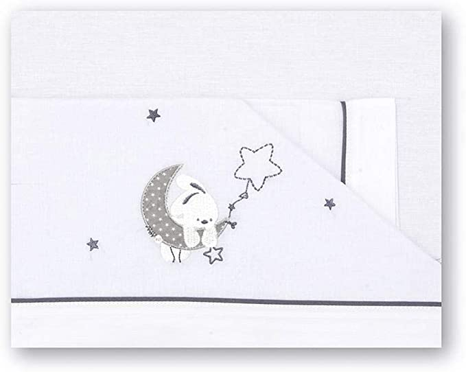 Pirulos Luna Juego de Sábanas 100% Algodón para Maxi Cuna de 80x140 cm para Invierno y Verano, Color Gris
