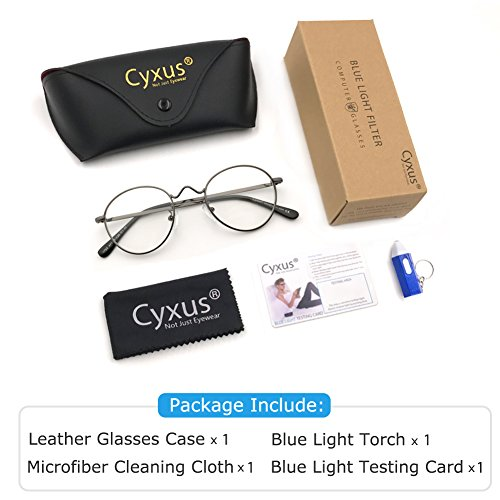 a831ed0c74 Cyxus Blue Light Blocking Glasses Retro Round Lightweight Anti Digital Eye  Strain Headache Computer Eyewear Metal