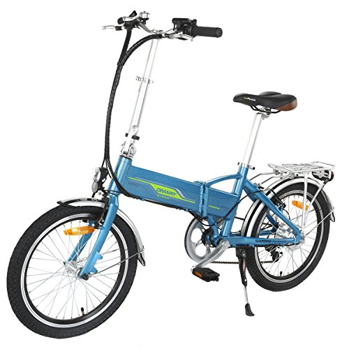 ONWAY 20 Inch 6 Speed Folding Electric Bicycle, Built-in Lithium Battery, 250W Brushless Motor, Blue