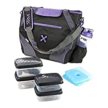 Fit and Fresh Jaxx FitPak Ares with Portion Control Container Set, Purple by Fit & Fresh