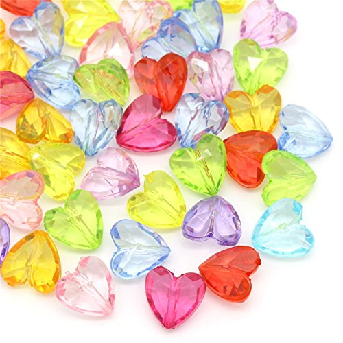 (100pcs 12x12mm Mixed Transparent Acrylic Beads Heart)