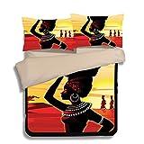 FAITOVE African Women Microfiber 3pc 80''x90'' Bedding Quilt Duvet Cover Sets 2 Pillow Cases Full Size