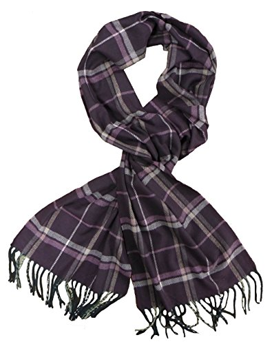 Classic Luxurious Soft Cashmere Feel Unisex Winter Scarf in Checks and Plaid (Purple Plaid)