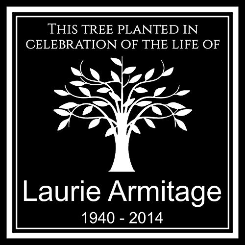 Lazzari Collections Custom Made Personalized Tree Planting Dedication Ceremony Memorial 12x12 Inch Engraved Black Granite Grave Marker Headstone Plaque LA1