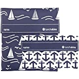 Lunchskins Reusable 2-Pack Velcro Bag Set, Navy Boat (1 Sandwich + 1 Snack)