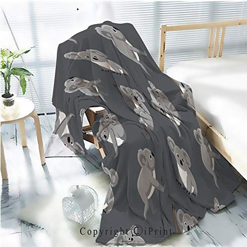 - Printed Flannel Sherpa Back Blanket,Cute Koala Seamless Wallpaper Rustic Home Decor Decorative,One Side Printing,W47.2 xH59.1