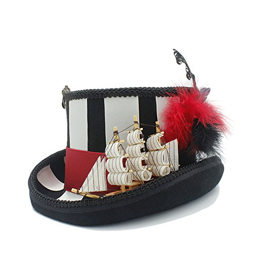 ZITEZHAI-hat 100% Wool Ladies Black Festive Hat High Bowler with Red Black Feather Sailing Ornament for Women (Color : Black, Size : 55CM)