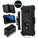 S7 Edge Case, Galaxy S7 Edge Holster Case, BENTOBEN Hybrid Dual Layer Combo Armor Heavy Duty Rugged Protective Case with Built-in Rotating Kickstand Swivel Belt Clip Holster for Galaxy S7 Edge (Black)