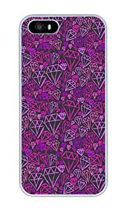 Custom Purple Diamond Hand Painted Background Crystal Clear Enamel Hard Back Cover Case for iPhone 4/4s by runtopwell