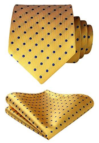 HISDERN Men's Polka Dot Tie Handkerchief Wedding Party Necktie & Pocket Square Set Gold