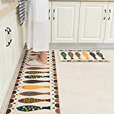 youta Non-Slip Kitchen Mat 2 Piece Absorbent Kitchen Rugs Non-Skid Backing Door Bath Mat for Bathroom Kitchen Entry 18'x28'+18'x48'