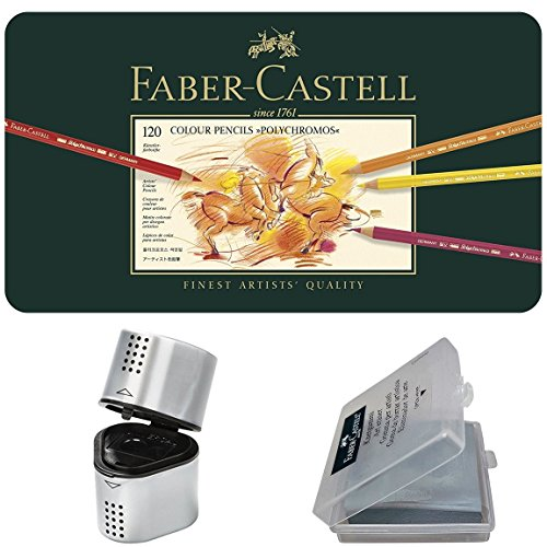 - Faber Castell Premium Polychromos 120 Color Pencil Set, with BONUS Trio Pencil Sharpener, Art Eraser and CSS Coloring Book ...