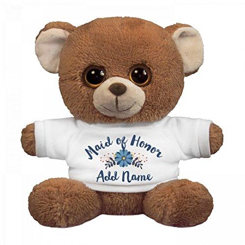 Custom Name Maid Of Honor Gift: Small Oogles Brown Bear Stuffed Animal (Honor Teddy Bear)