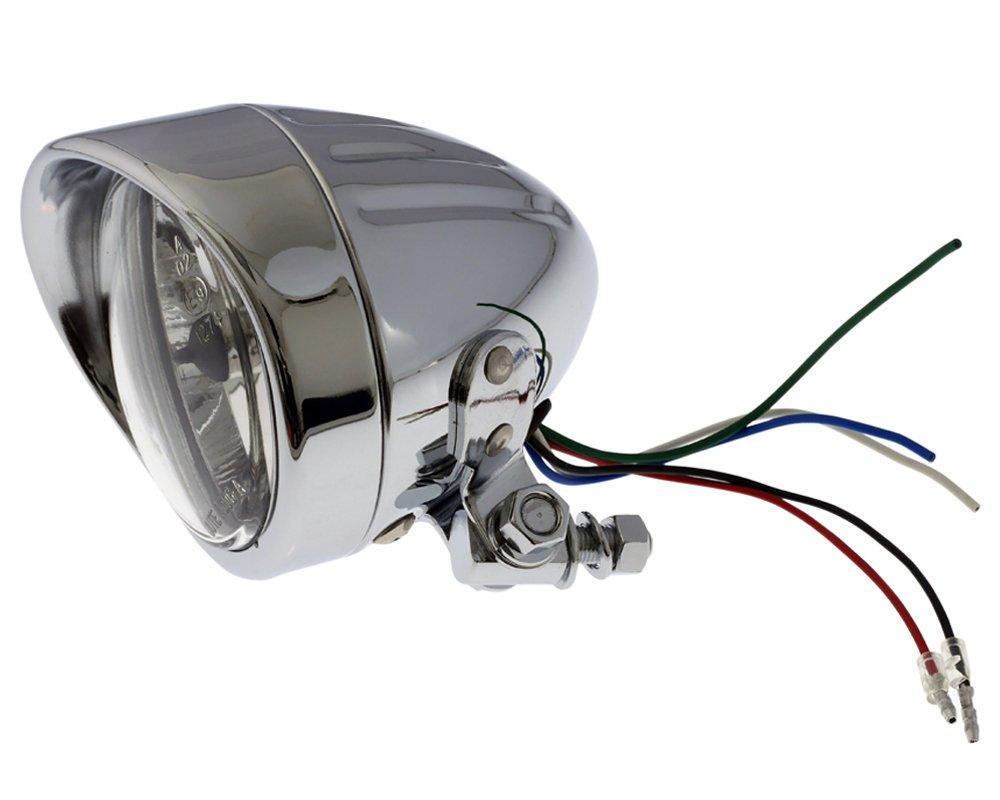 Befestigung unten Scheinwerfer 90mm H4 Chrom Motorrad Bullet Grooved Fernlicht