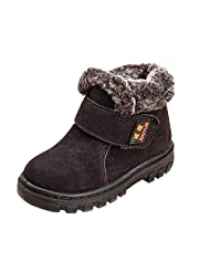 iLory Kids Fur Lined Winter Boots Girl's Leather Waterproof Warm Shoes Baby Snow Boot