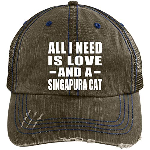 All I Need is Love and A Singapura Cat - Distressed Trucker Cap Brown/Navy / One Size ()