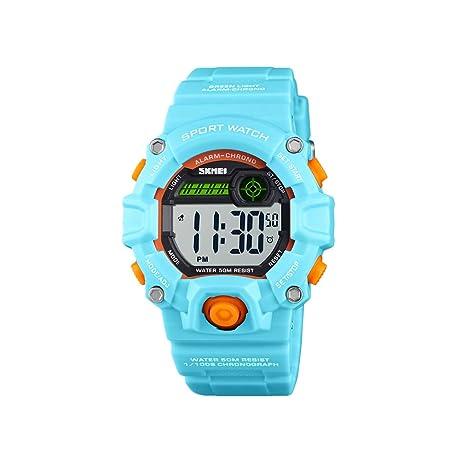 Hemobllo Niños Relojes Impermeables Deportes al Aire Libre Pulsera PU Relojes Infantiles Regalos (Azul Claro