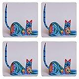 MSD Square Coasters Non-Slip Natural Rubber Desk Coasters design: 38513815 Colorful cat alebrije Mexican artcraft