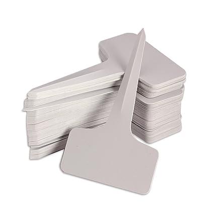 Kentop 100Stk Pflanzschilder Mini T-Form Plastik Stecketiketten Pflanzenstecker Beschriften Schilder