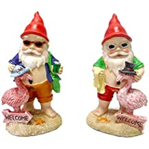 Set of 2 Gnomes on Vacation with Flamingos Tropical Party Garden Statue