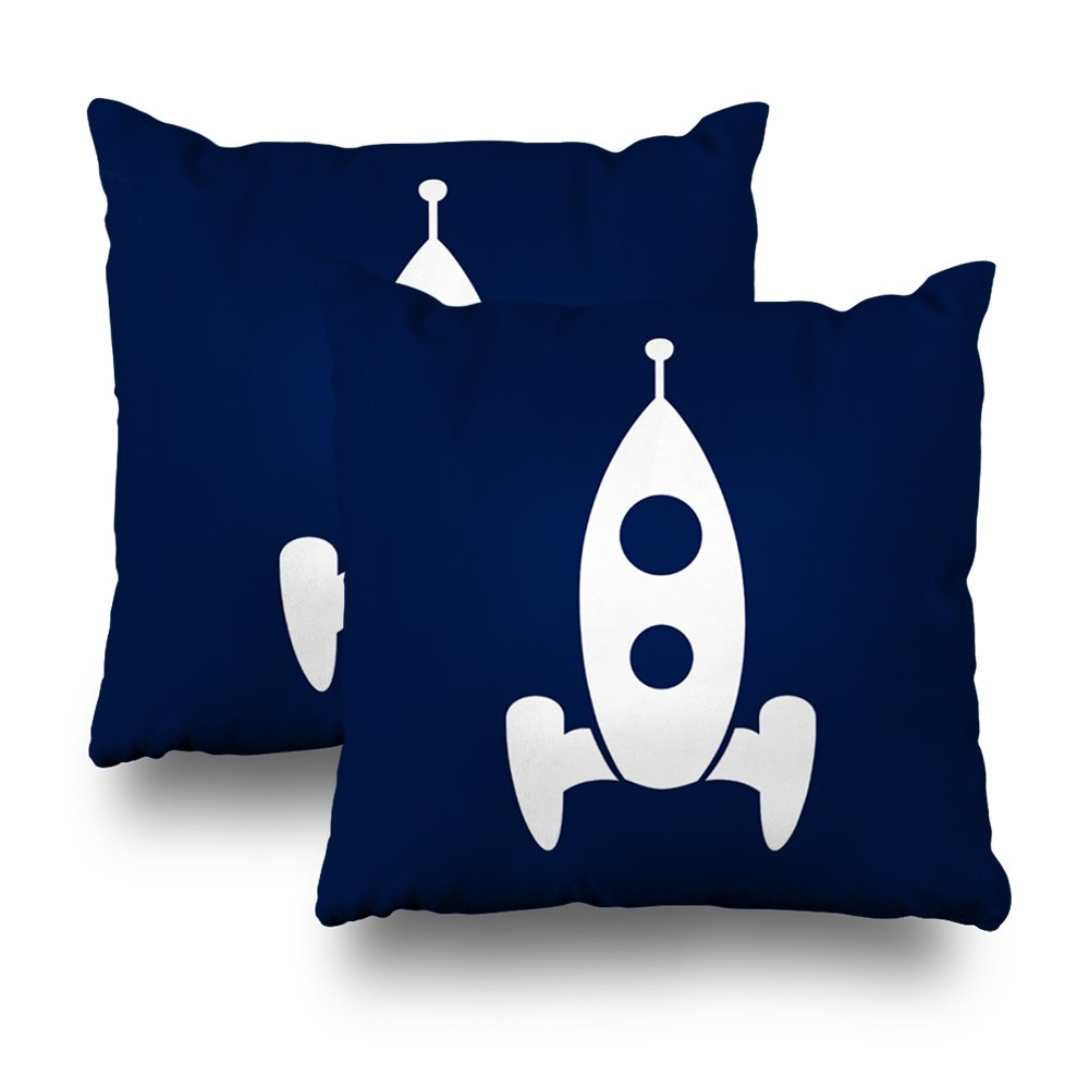 ONELZ Rocketship Space Square Decorative Throw Pillow Case, Fashion Style Zippered Cushion Pillow Cover (18X18 inch,Set of 2)