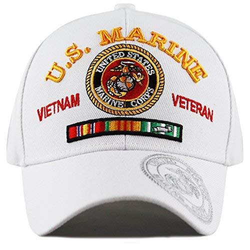 THE HAT DEPOT Official Licensed U.S. Military Vietnam Veteran Ribbon Cap (White-U.S. Marine)