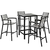 5 PC Outdoor Patio Bar Set Dimensions: 67.5''W x 67.5''D x 42.5''H Weight: 130 lbs Brown Gray
