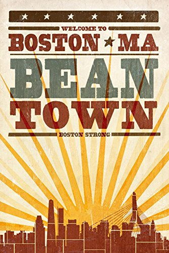 - Boston, Massachusetts - Skyline and Sunburst Screenprint Style (12x18 Art Print, Wall Decor Travel Poster)