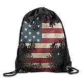 Jimres Americana Flag Drawstring Bags Portable Backpack Pocket Bag Travel Sport Gym Bag Yoga Runner Daypack