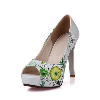 A&N Ladies Spikes Stilettos Peep-Toe Assorted?Color Urethane Pumps-Shoes