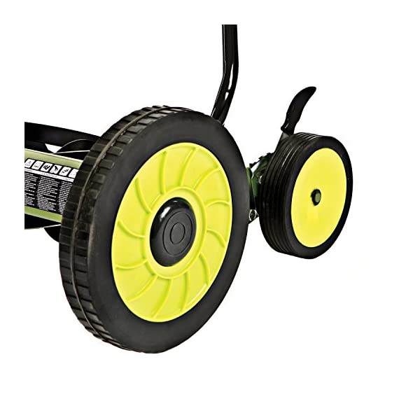Sun Joe MJ502M Manual Reel Mower w/Grass Catcher | 20 inch 3 ✅ REEL MOWER: Powered with a push, this manual mower's 5 sharpened steel blades cut a crisp 20-inch path in a single pass - no gas, oil or electricity required ✅ ADJUSTABLE: 9 position manual height adjustment for cutting heights up to 2.44 in. deep ✅ RAZOREEL: 5 durable steel blades swiftly slice through grass for precise cutting