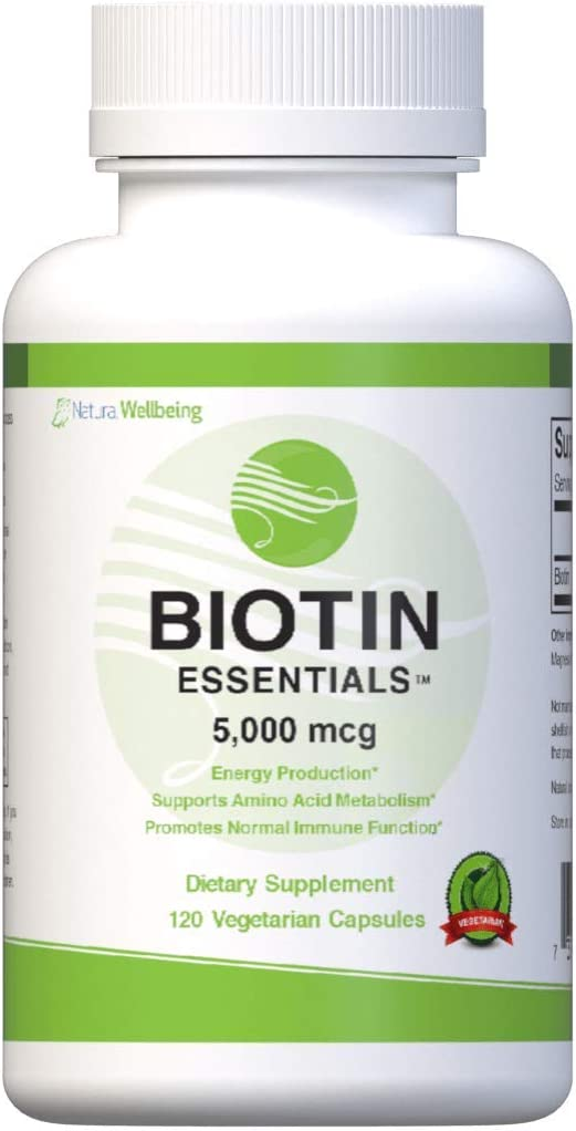 Biotin Essentials 5000mcg Supports Healthy Hair, Skin, and Nails - 120 Capsules