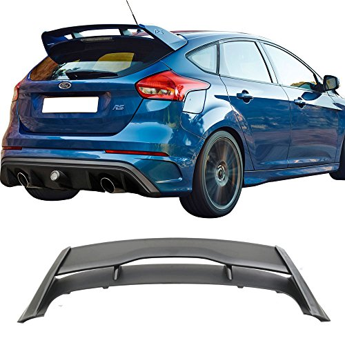 (Roof Spoiler Fits 2012-2018 Ford Focus | RS Style Unpainted ABS Black Rear Window Wing by IKON MOTORSPORTS | 2013 2014 2015 2016)