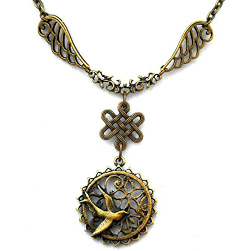 Art Nouveau Necklace w/ Celtic Infinity Knot, Swallow & Wings, Unique Jewelry Gift for Bird (Celtic Wings)