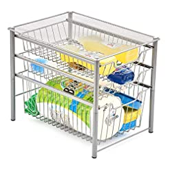 Kitchen EZOWare 3-Tier Pull Out Sliding Drawer Multipurpose Storage Organizer Rack Ideal for Use Under the Sink, Bathroom… pull-out organizers