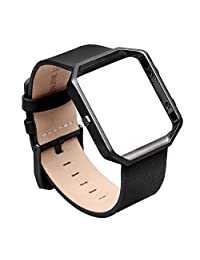 Fitbit Blaze Band, Leather Small, V-Moro Genuine Leather Bracelet Strap Replacement Band with Metal Frame Black For Fitbit Blaze Smart Fitness Watch (Leather Black&Metal Frame Black - Small)