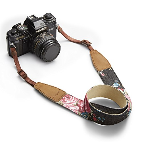BESTTRENDY Universal Camera Neck Shoulder Strap, Casual Vintage Neck Shoulder Camera Belt for All DSLR Camera Nikon / Canon / Sony / Olympus / Samsung / Pentax ETC /Olympus (Black+Flower)