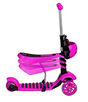 ISO TRADE Scooter Patinete para Niños Tres Ruedas LED 3in 1 Rosa Azul Verde 3479, Farbe / Color:Rosa / Pink