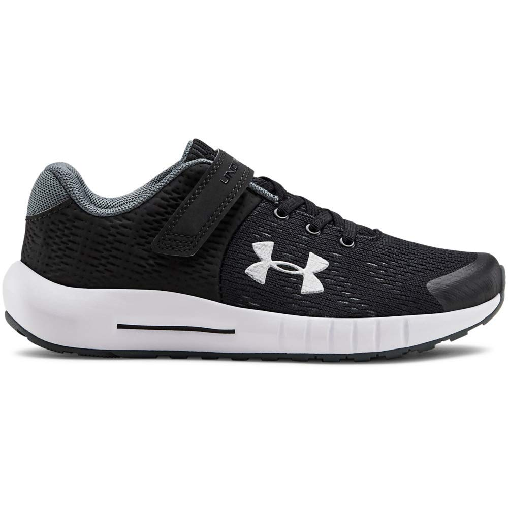 Under Armour Kids' Pre School Pursuit BP Alternate Closure Sneaker, Black (001)/White, 1