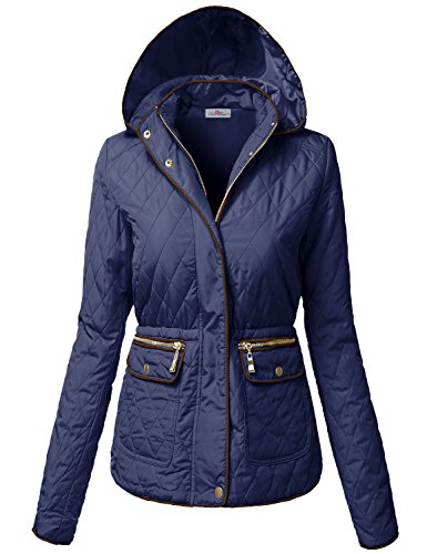 Warm Waist Drawstring Hooded Quilted Padding Jacket Navy L