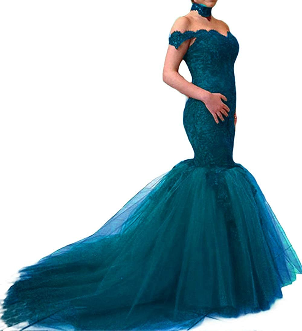 bluee Sexy Off The Shoulder Lace Mermaid Prom Evening Dresses Long Formal Wedding Bridal Gowns